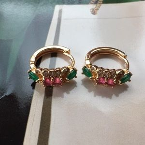 Jewelry - Indian Multicolored Simulated Gemstones Earrings